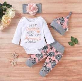 Ropa Para Bebes - Conjunto De 4 Piezas Floral Estampado