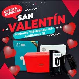 Promocion San valentin ⚡CPARLANTE T15+SMART BAND M4+AUDIFONOS I11