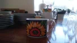 Juego de tazas y platos de porcelana esmaltada para el te ..