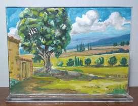 Cuadro decorativo pintura paisaje campestre