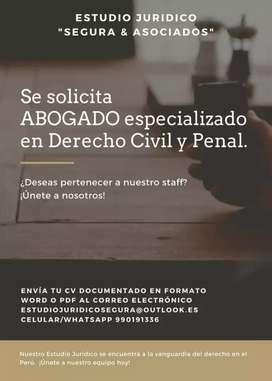 Solicito Abogado especializado en Derecho Penal y Civil