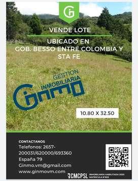 VENDO lote ubicado en Gob. Besso entre Colombia y santa fe