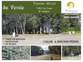 Vendo terreno 200m2 en barrio Andino - escriturado y con servicios