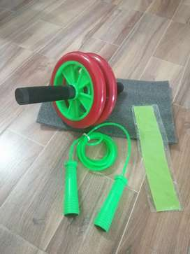 Kit de rueda abdominal + tapete + lazo + banda elástica