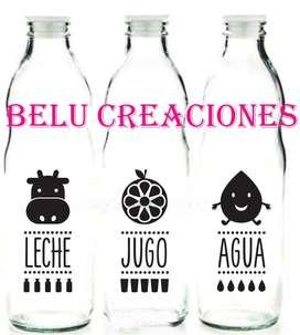Botellas jugo, agua, leche