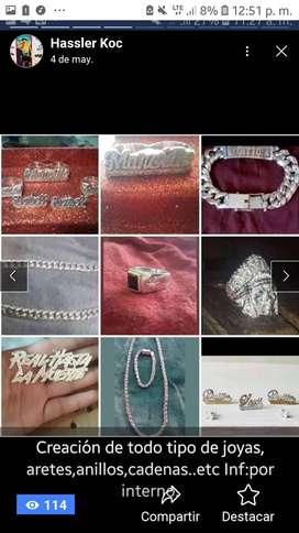 Creacion de todo tipo de joyas en plata y oro ...aretes ,manoplas anillos de nombres