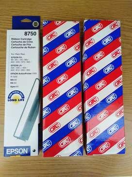 Cinta negra, cartucho de cinta marca EPSON modelo 8750 para impresoras