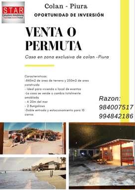 !!EXCELENTE OPORTUNIDAD VENTA O PERMUTA!! CASA DE PLAYA - COLAN - PIURA