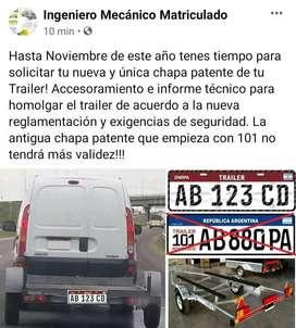 Chapa patente trailers - Informe técnico - homologación - Ingeniero Mecanico - cambios de tipo vehicular