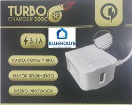 Cargador Turbo Lion 3.1A c/cable  USB