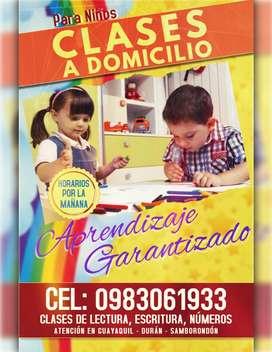 Clases a Domicilio para niños. Enseñanza Pedagógica en Lectura, Escritura, Números