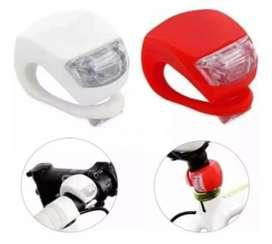 Kit de luces siliconado en blanco y rojo para bici