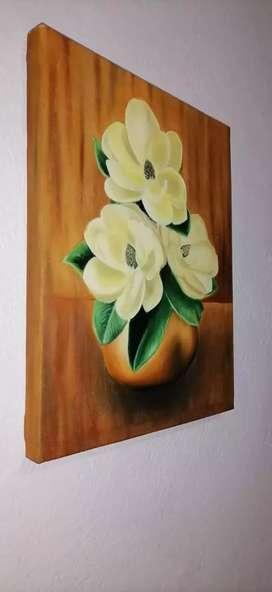 Óleo jarrón de flores de blancas