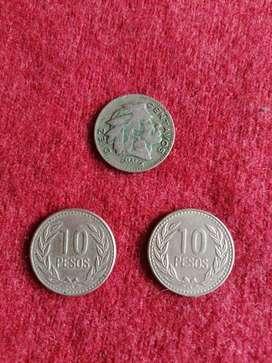 REPUBLICA DE COLOMBIA MONEDAS, TODO EL LOTE POR $ 8000 o CADA UNO A $3000. MONEDA 10 PESOS 1990- 1991, MONEDA 10 CENTAVO