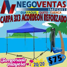 CARPA ACORDEON PLEGABLE MEDIDAS DE 3X3 ESTRUCTURA REFORZADA LONA INMPERMEABLE