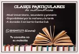 Clases particulares de matemáticas - nivel primario, secundario y universitario
