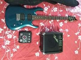 Guitarra electrica, con amplificador y pedal multiefectos, negociables