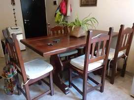 Mesa + 5 sillas de algarrobo
