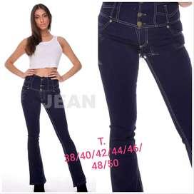 Jeans super tiro alto con faja.