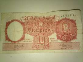 ANTIGUO BILLETE 10 PESOS SERIE G