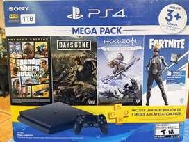 Vendo Play Station 4 Slim 1TB con Pack GTA V, Days Gone y Zero Dawn