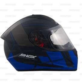 Casco Shox Stinger Gal Negro/Azul Mate para Motociclistas