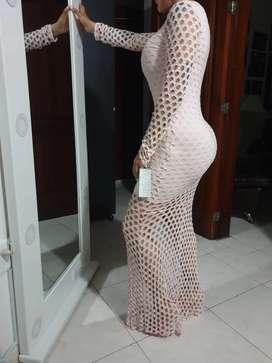 Vestido Color Palo de Rosas