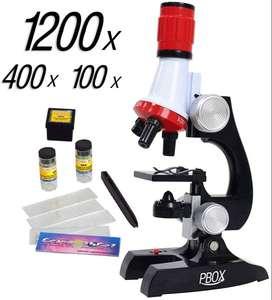 Kit Microscopio Led Para Niños 100x 400x Y 1200x