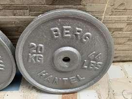 Discos para pesas 20 kilos = 44 libras