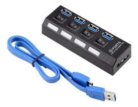 Hub Usb 3.0 4 Puertos Switch Independiente + Cable Usb 3.0