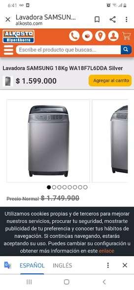 Se vende nueva empacada lavadora Samsung de 18 libras
