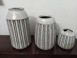 Nuevo: Conjunto 3 jarrones cerámica