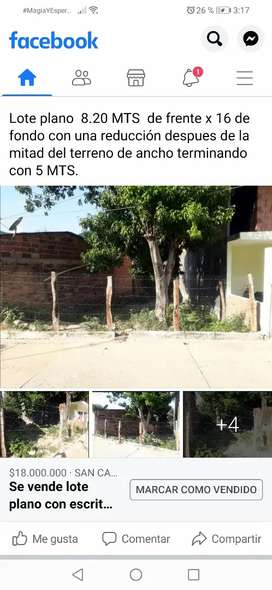 Se vende lote plano con escrituras ubicación  corregimiento de Cornejo municipio de Sancayetano