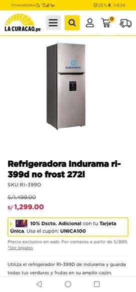 Refrigeradora indurama 272 litros NUEVA EN CAJA