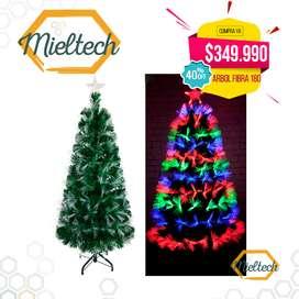 arbol en fibra optica navidad colorido tupido 180 cm
