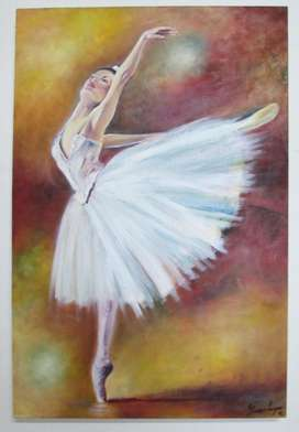 Espectacular Pintura Decorativa, Bailarina Oleo Sobre Lienzo