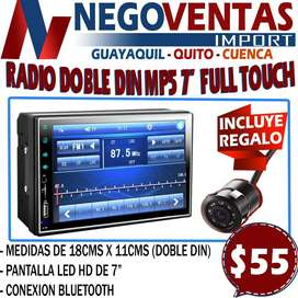 RADIO DE CARRO DOBLE DIN MP5 FULL TOUCH DE 7 PULG CON BLUETOOH USB Y MICRO SD INCLUYE CAMARA DE RETRO GRATIS