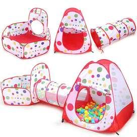 juego infantil 3 en 1 para bebes/niños casita carpa tienda, túnel, piscina para pelotas o juguetes