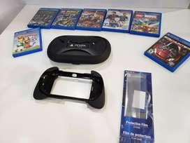 PS Vita Slim +7 juegos + estuche a prueba de golpes+soporte en forma de control + 2 películas protectoras