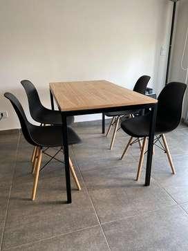 Mesa hierro y madera 1,20 x 0,70