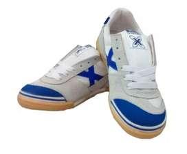 Zapatos Tenis Munich X Zapatillas Fútsal Fútbol Salón Blanco Azul