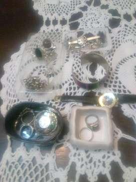 Conjuntos de anillo pulseras plata