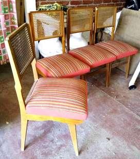Excelentes 4 sillas diseño retro escandinavo vintage esterilla impecables