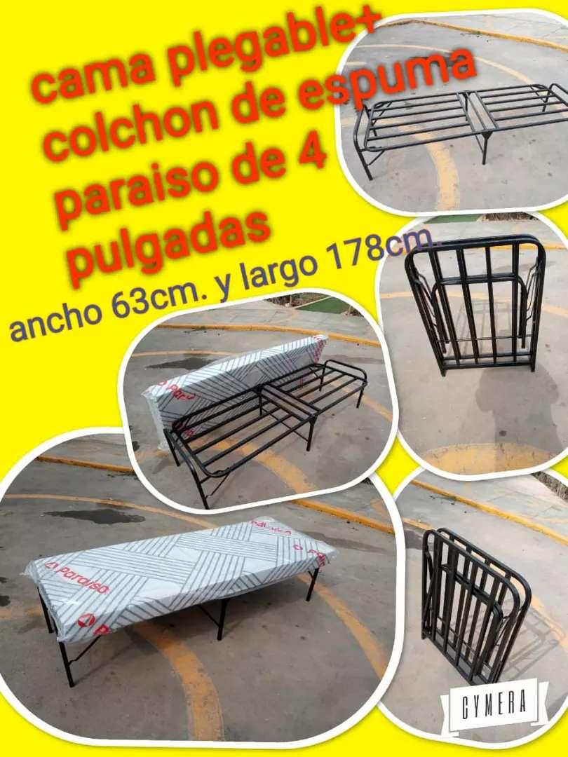 Cama Plegable 1 Plaza Y Colchon 4 Pulga