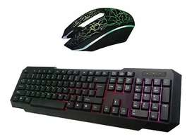 Combo Teclado Retroiluminado  Mouse Gamer Luces Led 800 Dpi