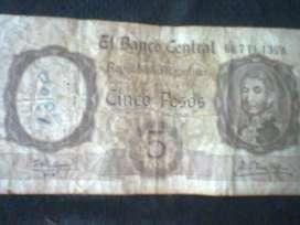 ANTIGUO BILLETE DE  5 MONEDA NACIONAL
