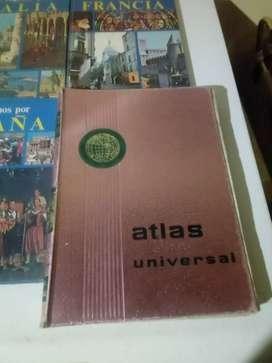 Atlas universal un tomo, cinco tomos de viajemos años 70