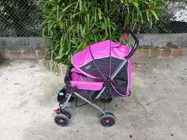 Coche rosa para bebé de 3 posiciones