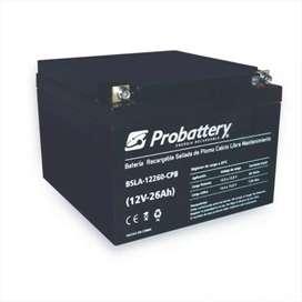 Baterías PROBATTERY 12 v 26 ah con garantia