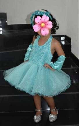 Hermoso vestido azul turquesa tutu gala cumpleaños niña 2 años elaborado por diseñadora de modas caleña